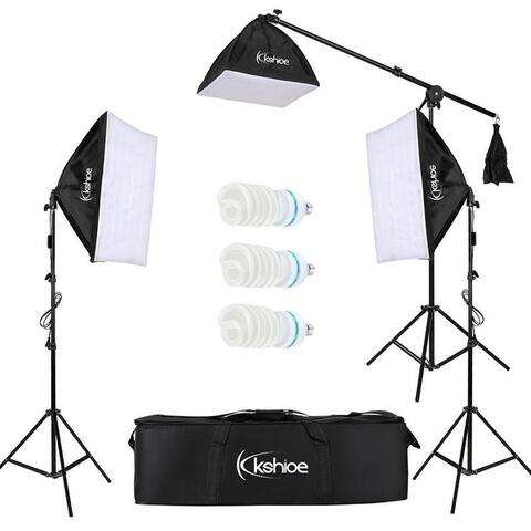 Kshioe 65W/135W Photo Studio Photography 2/3 Soft Box Light Stand Continuous Lighting Kit Diffuser