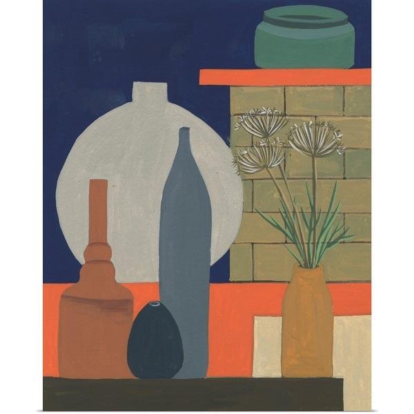 """Vases on a Shelf IV"" Poster Print"