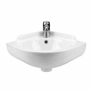 Renovator's Supply White Vitreous China Wall Mount Corner Bathroom Sink