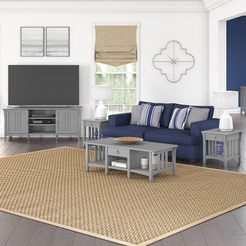 Salinas TV Stand with Coffee Table and End Tables by Bush Furniture