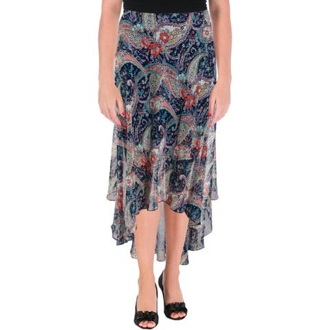 Aqua Womens Midi Skirt Paisley Print Hi-Low