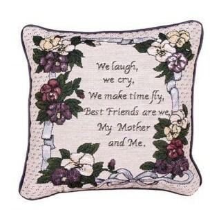 """12"""" Floral My Mother and Me Decorative Tapestry Accent Throw Pillow"""