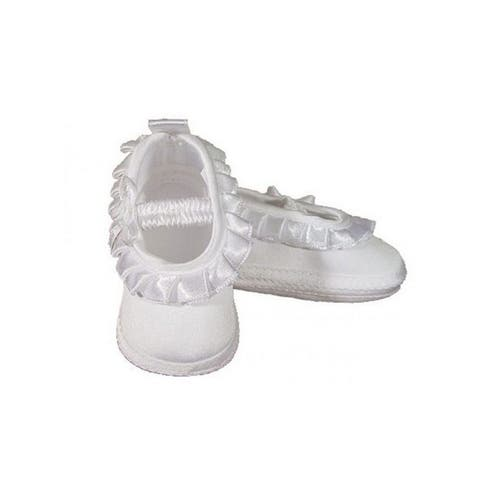 Baby Girls White Mate Satin Pleated Ribbon Christening Shoes