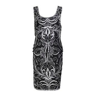 J Kara Women's Sleeveless Beaded Chiffon Blouson Dress