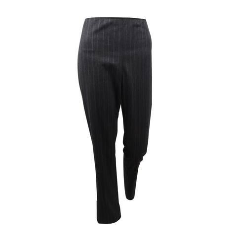 DKNY Women's Side-Zip Pinstripe Pants (2, Charcoal Grey) - 2