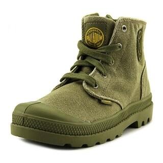 Palladium Pampa Hi Zipper Youth Round Toe Canvas Green Combat Boot