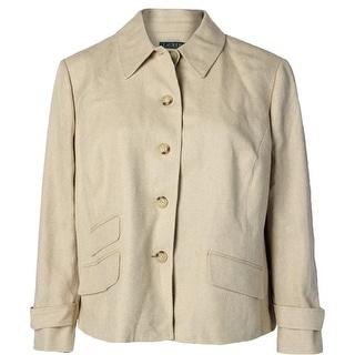 Lauren Ralph Lauren Womens Plus Four-Button Blazer Silk Blend Herringbone