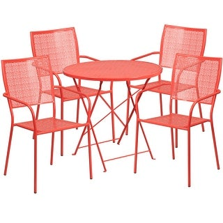 Westbury 5pcs Round 30'' Coral Steel Folding Table w/4 Square Back Chairs