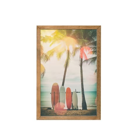 Vintage Beach Surfboards & Palm Trees Wood Framed Art Print