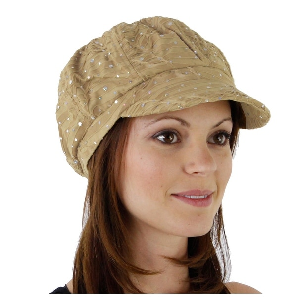 Glitter Sequin Trim Newsboy Style Relaxed Fit Cap