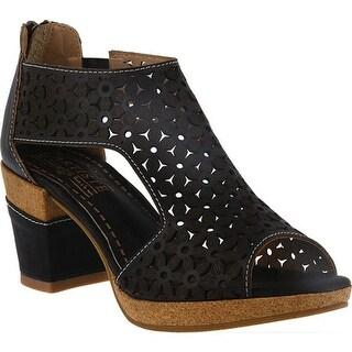 L'Artiste by Spring Step Women's Hibiskus Open Toe Bootie Black Leather