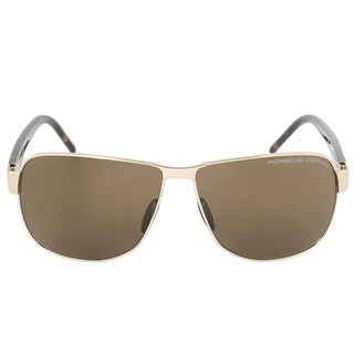 Porsche Design Design P8633 B 61 Aviator Sunglasses for Men Matte Gold Titanium Frame Brown Lens