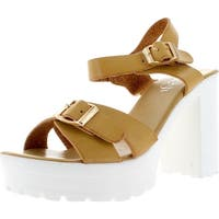 Refresh Gaga-03 Women's Fashion Buckle Platform Ankle Strap Chunky Heel Sandal