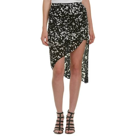 Haute Hippie Asymmetrical Silk A-Line Skirt