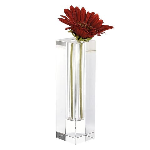 "Donovan Handcrafted Square 7.25"" Optical Crystal Bud Vase"