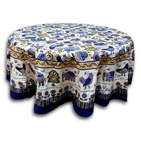 Cotton Birds Avian Floral Tablecloth Rectangular Square Round Table Linen Blue Purple White