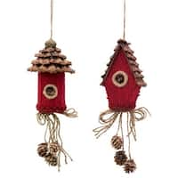Club Pack of 12 Brown and Red Birdhouse Christmas Ornaments 11""