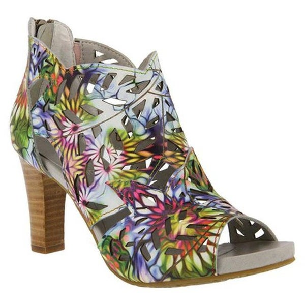 L'Artiste by Spring Step Women's Amora Open Toe Bootie Rainbow Multi Leather