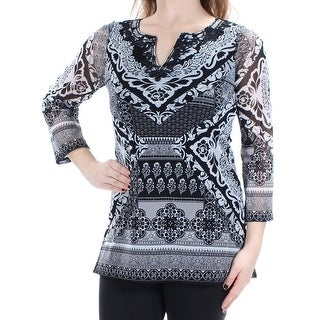 INC $70 Womens New 1334 Black Printed Embellished V Neck Tunic Top XL B+B
