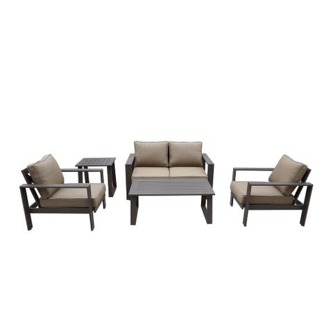Seaside 5-Piece Outdoor Patio Seating Set by Avery Oaks Furniture - 2x Club Chairs, Loveseat, Coffee Table & Side Table