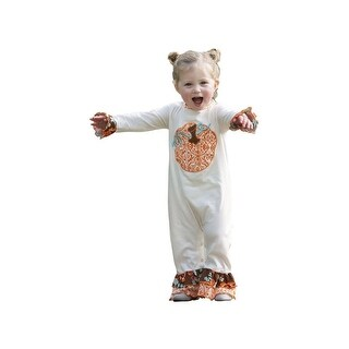 AnnLoren Baby Girls White Pumpkin Patch Ruffles Thanksgiving Romper 6M-24M