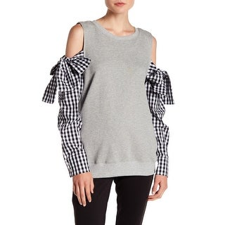 Lea & Viola NEW Gray Womens Size Small S Mix-Media Pullover Sweater