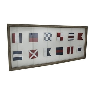 Wood Framed Nautical Signal Flags Decorative Wall Hanging