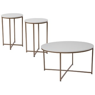 Offex Hampstead Collection 3 Piece Coffee and End Table Set in White with Matte Gold Frames