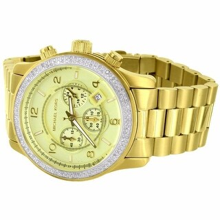Micheal Kors Gold Tone 45 MM Stainless Steel Watch Custom Diamond 1.5 ct