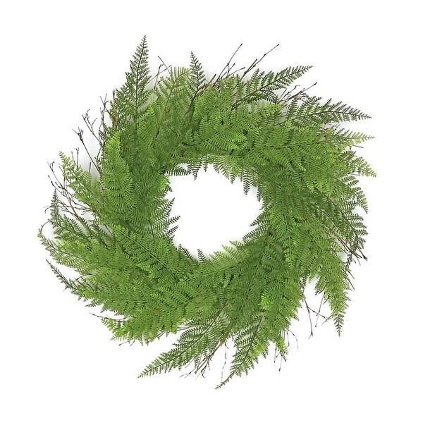 "24"" Decorative Green Artificial Narrow Fern Wreath - Unlit - N/A"
