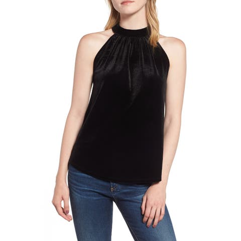 Gibson Black Deep Women's Size Large L Velvet Halter-Tie Blouse