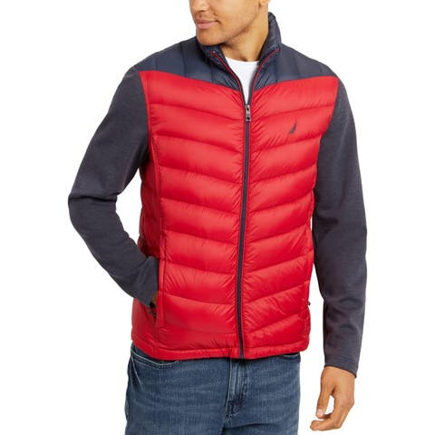 Nautica Mens Jacket Blue Red Size 2XL Quilted Colorblocked Full-Zip