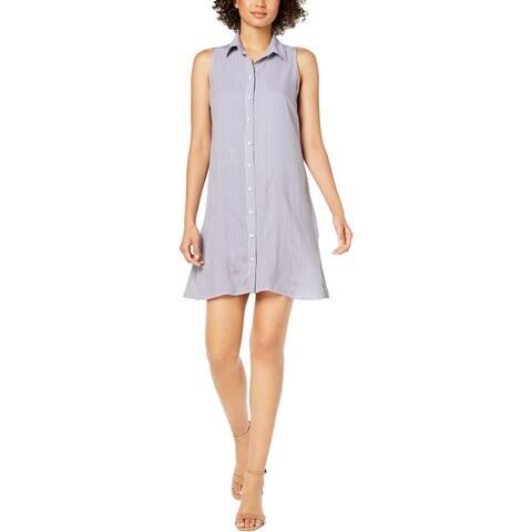MSK Womens Petites Shirtdress Striped Pearl Button - Denim/White