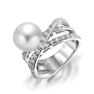 Bling Jewelry CZ Criss Cross Imitation Pearl Cocktail Ring Rhodium Plated