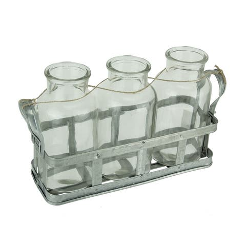 3 Clear Glass Milk Bottles in Rustic Metal Tray - 6.5 X 11.75 X 3.5 inches