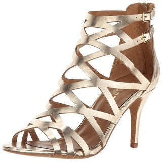 Report Womens Kareena Open Toe Special Occasion Strappy Sandals, Gold, Size 7.5