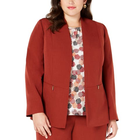 Kasper Womens Jacket Rustic Orange Size 14W Plus Seamed Dual Pocket
