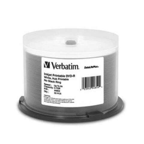 Verbatim DVD-R, 94854, 4.7GB, 8X, DataLifePlus White Inkjet, 50PK Spindle, TAA