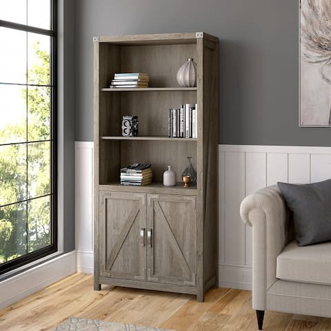 Cottage Grove Tall 5 Shelf Bookcase with Doors by Bush Furniture