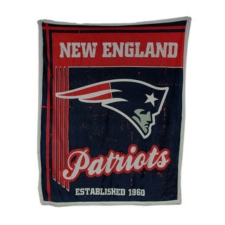 Officially Licensed New England Patriots Micro Mink & Faux Sherpa Fleece Throw - navy