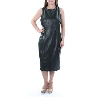 Womens Green Sleeveless Below The Knee Sheath Evening Dress Size: 8