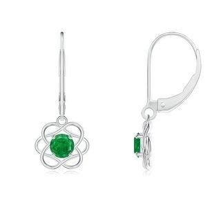 Angara Leverback Dangle Solitaire Emerald Flower Earrings
