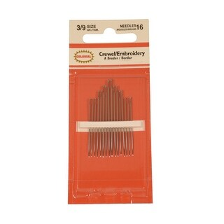 Colonial Embroidery and Crewel Needle Assortment, Size 3 to 9, Pack of 16
