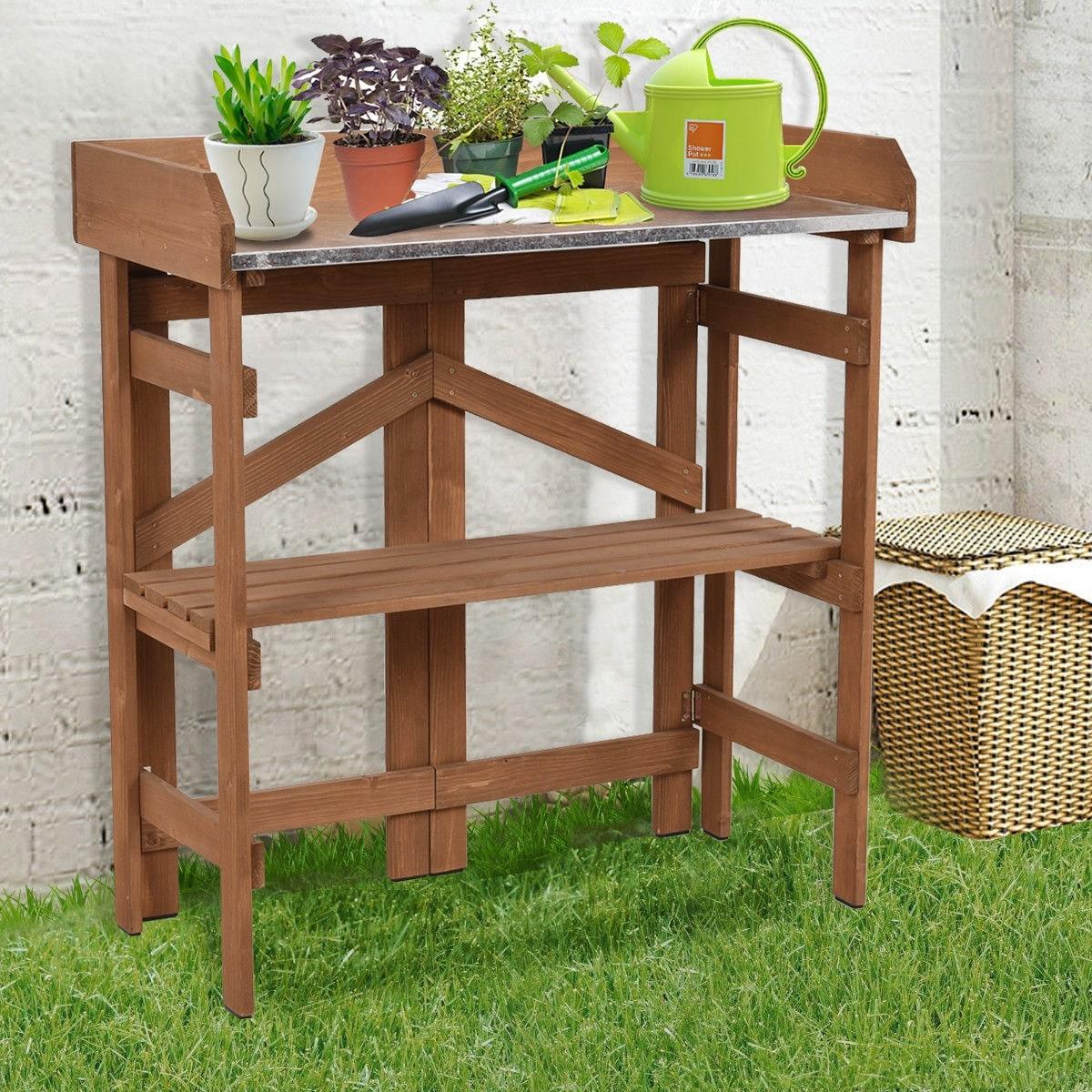 Costway Metal Top Wooden Potting Bench Garden Planting Workstation Shelves  - as pic