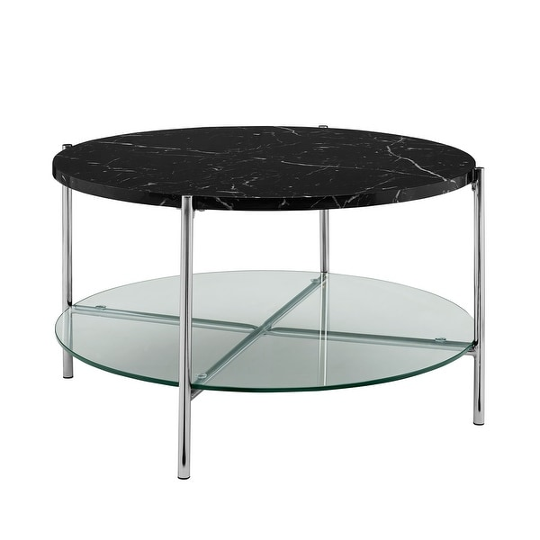 """Delacora WE-BDF32SRDCT Dawson 32""""Diameter Marble Top Laminate, Metal and Glass Coffee Table"""