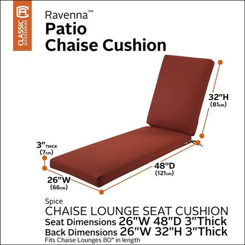 Classic Accessories Ravenna Water-Resistant Patio Chaise Cushion, 80 x 26 x 3 Inch