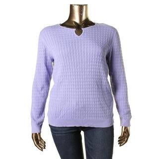 Karen Scott Womens Plus Cabel Knit Long Sleeves Pullover Sweater