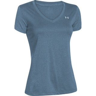 Under Armour Women's Tech Twist Deep V-Neck T-Shirt, Blue, L