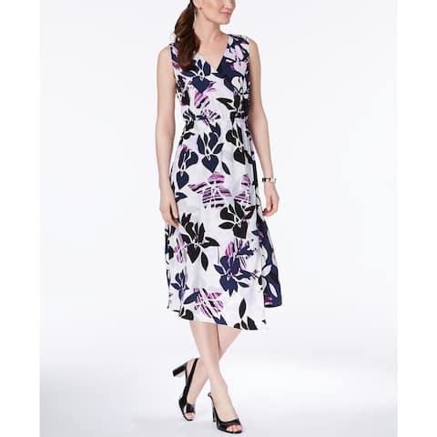 """Alfani Women's Petite Faux-Wrap Midi Dress Purple Size 6' - 6"""""""