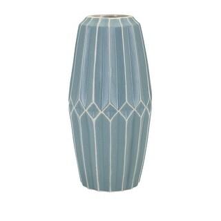 """14.5"""" Large Turquoise Blue """"Asher"""" Geometric Decorative Vase"""